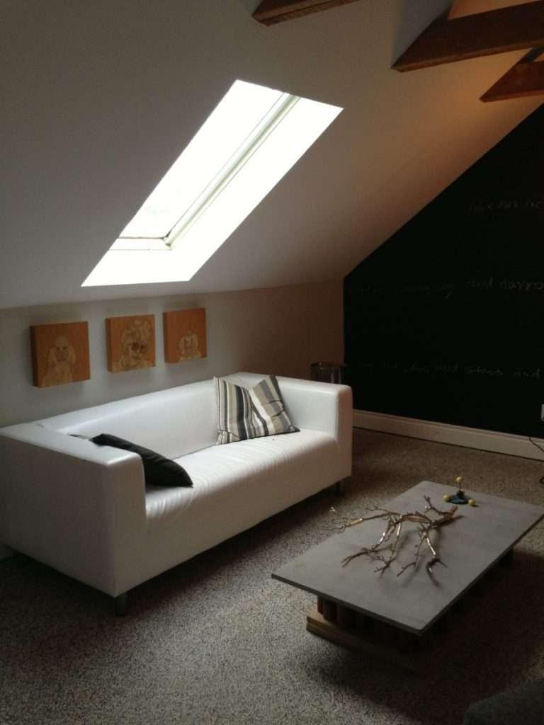 cozy attic room with epoxy floor