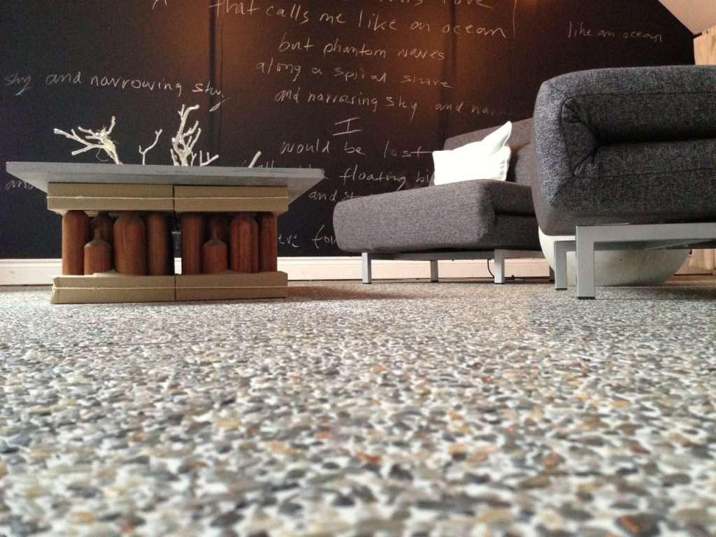 epoxy flake floor in living room